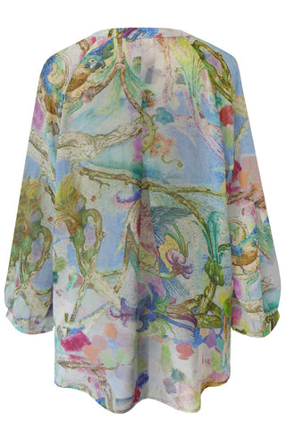 Parrots Blue - Silk Georgette Shirt