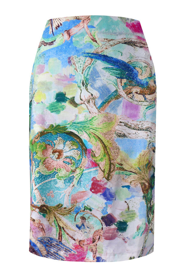 Pazuki | SS17 | Parrots Blue | Stretch Cotton Printed Pencil Skirt - Front