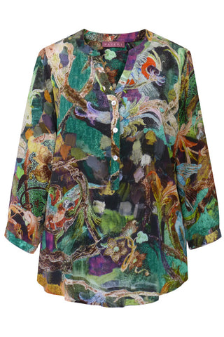 Parrots Green - Crêpe de Chine V Neck Shirt