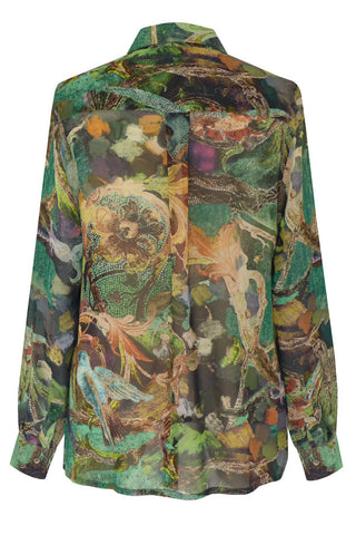Parrots Green - Silk Georgette Fly Front Shirt