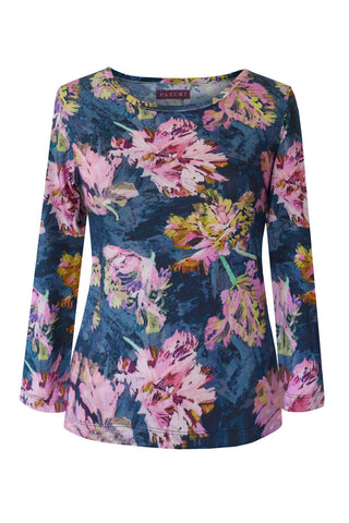 Tulips Navy - Cotton Jersey Long Sleeve Top