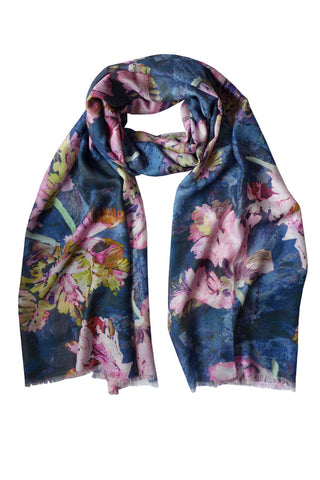 Tulips Navy - (Modal/Cashmere) Scarf