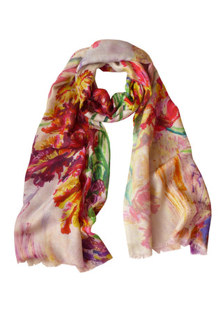 Tulips Red - (Cotton/Silk/Cashmere) Scarf