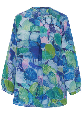 Abstract Lily Blue - Crepe de Chine Tunic Shirt