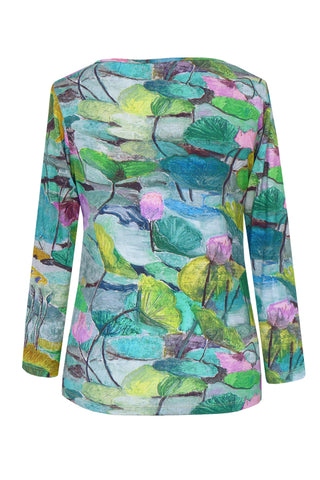 Abstract Lily Green Pink - Jersey Long Sleeve Top
