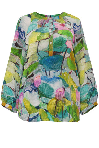 Abstract Lily Green Pink - Crepe de Chine Tunic Shirt
