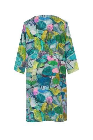 Abstract Lily Green Pink - V Neck Tunic Dress