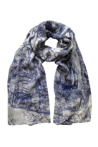Along the Road Blue - (Silk Chiffon) Tubular Scarf