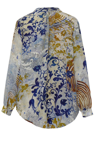 Arabesque - Crepe de Chine Tunic Shirt with Cuffs
