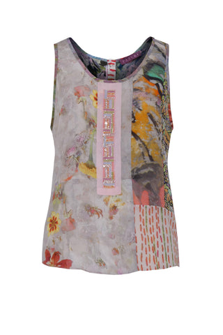 Beaded Embroidery Palette Pink - Crepe and Silk Georgette Patchwork Vest