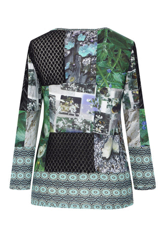 Black Lace & Buzzing Garden Patchwork - Silk/Lace Long Sleeve Top