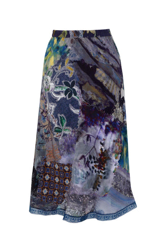 Blue Mixed Print Patch - Lace Silk Satin Patchwork Skirt