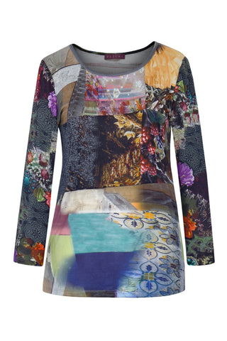 Construction & Demolition Patchwork - Silk Long Sleeve Top