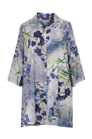 Delphinium Blue - Cotton Voile Oversized Shirt