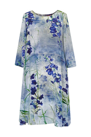 Delphinium Blue - Crêpe De Chine Trapeze Dress