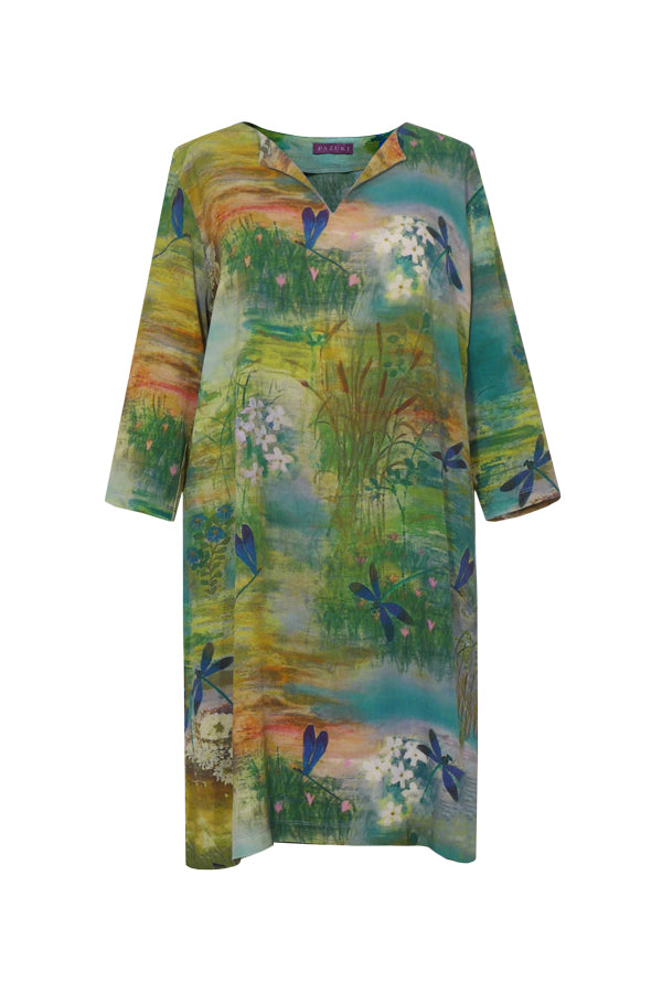 Pazuki | SS18 | V Neck Tunic Dress - Dragonfly - FRONT