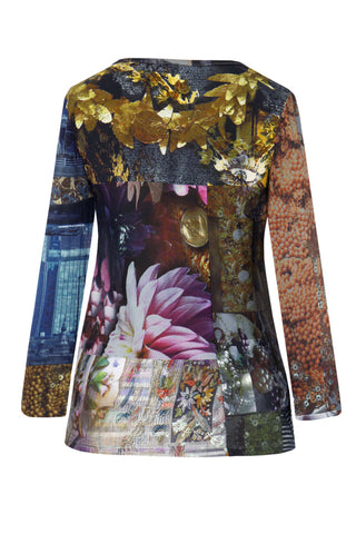 Flowers & Coins Patchwork - Silk/Lace Long Sleeve Top