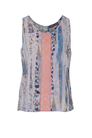 Blue Lace Stripe Lace Front -  Lace and Crepe Patchwork Vest
