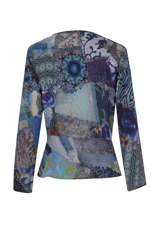 Blue Patch - Crepe & Georgette Patchwork Wrap Top