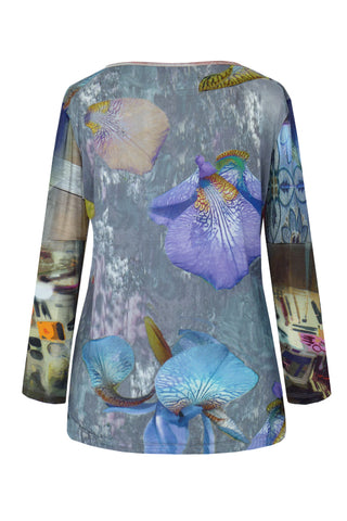 Purple Iris Patchwork - Silk Long Sleeve Top