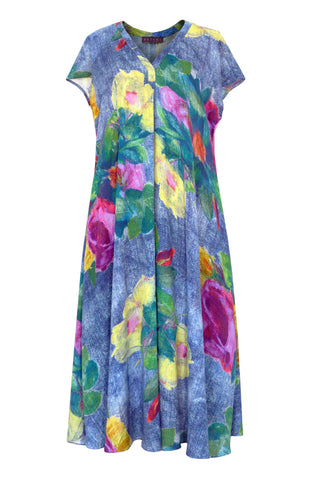 Roses Denim - Rayon Long Dress with Pockets