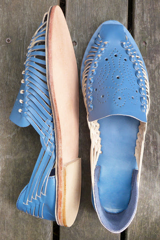 Blue Punched Leather Pumps