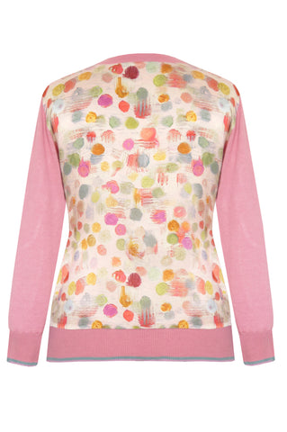 Bubbles Pink - Printed Satin Back Silk Cashmere Cardigan
