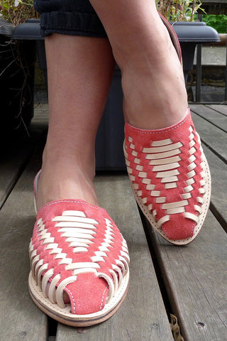 Orange Leather Woven Pumps