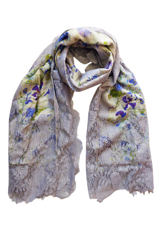 Damask Lace Blue - (Merino Silk Lace) Scarf