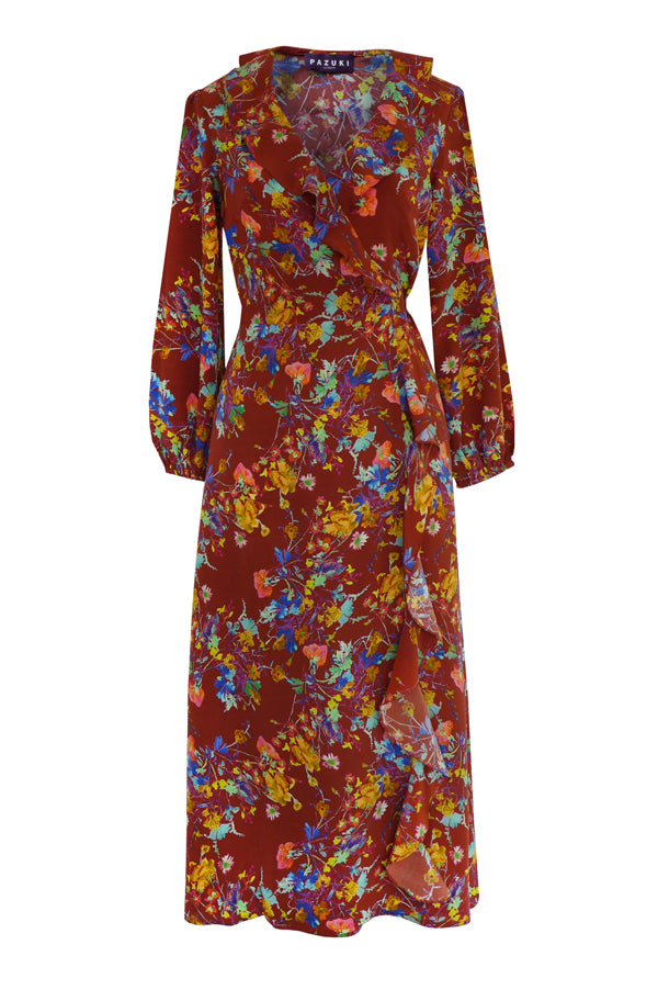 Pazuki | SS19 | Floris Brown | Wrap Front Dress - FRONT