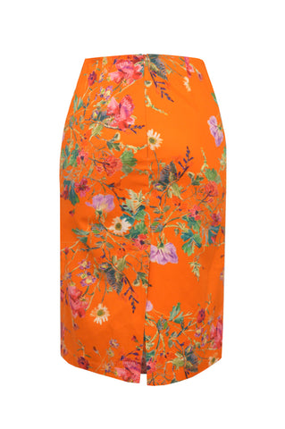 Floris Orange - Stretch Cotton Pencil Skirt