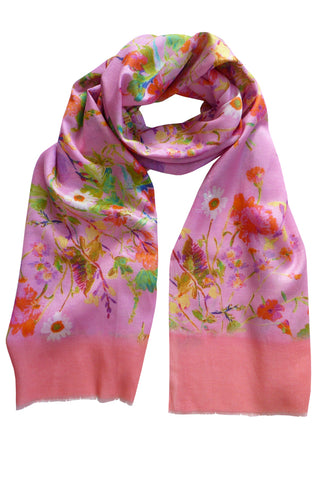 Floris Pink - (Cotton/Silk) Scarf
