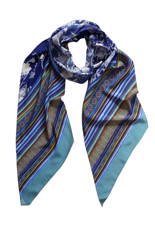 Floris Stripe Blue - Long Narrow Bias Silk Scarf