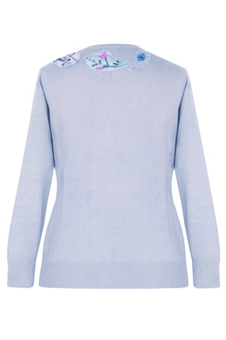 Flower Embroidered Blue - Silk Cashmere Cardigan