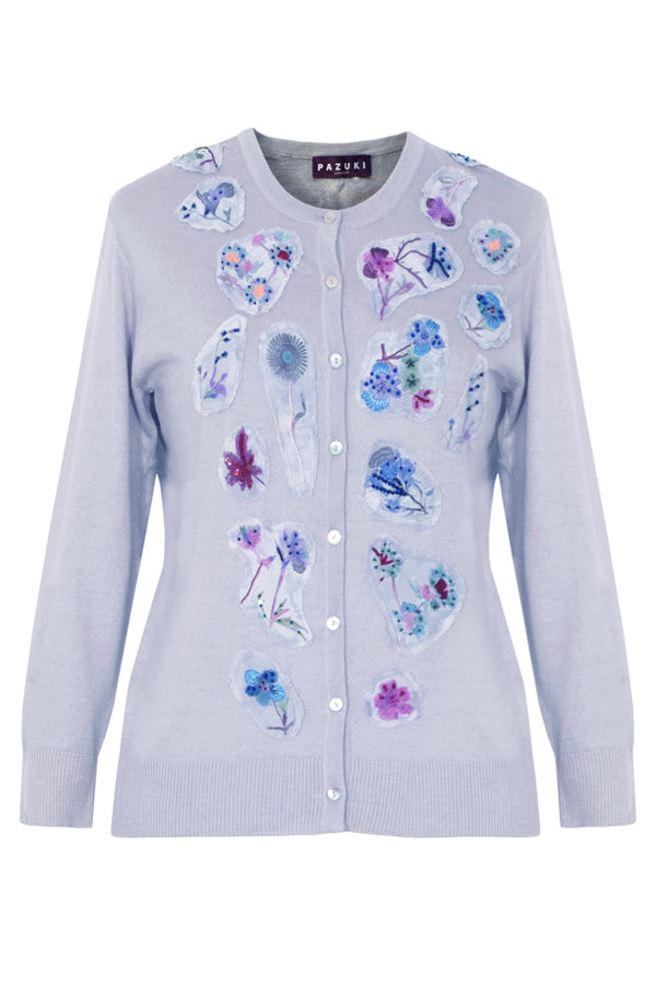 Pazuki | SS19 | Embroidered Flower | Blue Silk Cashmere Cardigan - Front