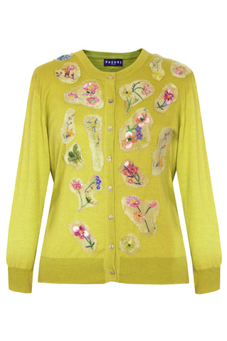 Flower Embroidered Green - Silk Cashmere Cardigan