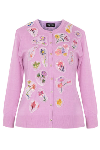Flower Embroidered Pink - Silk Cashmere Cardigan
