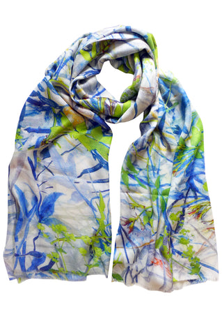 Jasmine Tangle Blue - (Cotton/Silk/Cashmere) Scarf