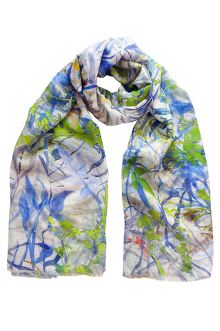 Jasmine Tangle Blue - (Linen/Cotton) Scarf