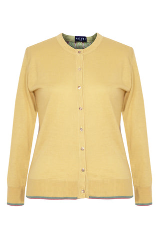 Lozenge Yellow - Printed Satin Back Silk Cashmere Cardigan