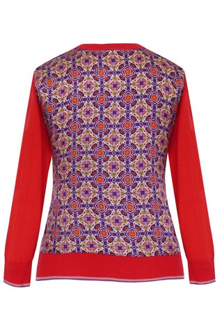 Mekkano Red - Printed Satin Back Silk Cashmere Cardigan