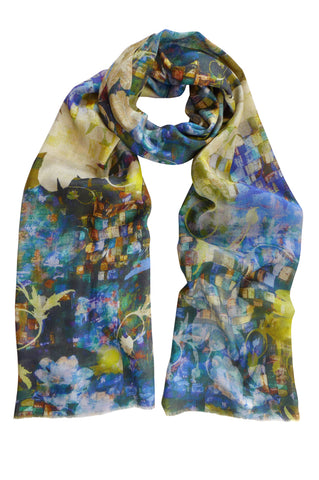 Mosaic Garden Green - (Cotton/Silk/Cashmere) Scarf