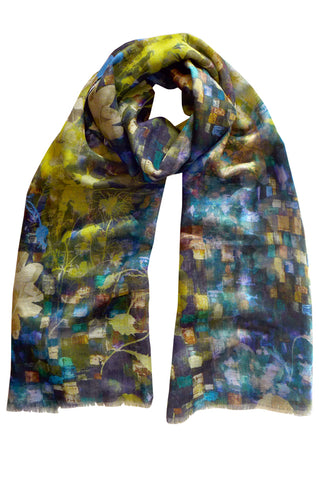 Mosaic Garden Dark Blue Lime - (Linen/Cotton) Scarf