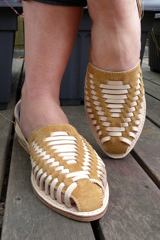 Mustard Leather Woven Pumps
