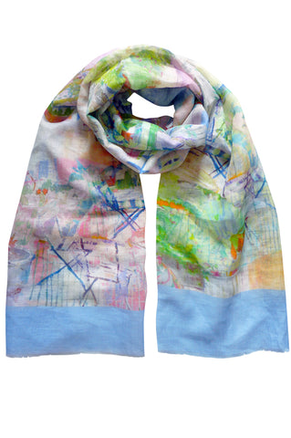 Omassim Blue - (Linen/Cotton) Scarf