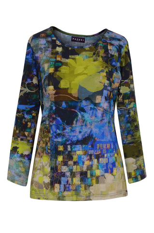 Mosaic Garden Dark Blue Lime - Jersey Long Sleeve Top