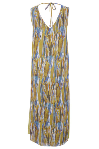 Wheat Olive - Silk Georgette V-Neck Dress
