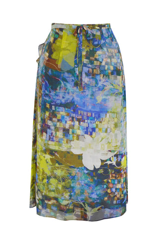 Mosaic Garden Dark Blue Lime - Wrap Silk Georgette Skirt