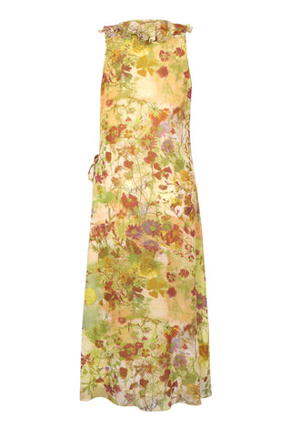 Damask Rose - Silk Georgette Wrap Front Sleeveless Dress