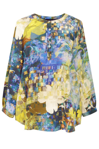 Mosaic Garden Dark Blue - Crepe de Chine Tunic Shirt